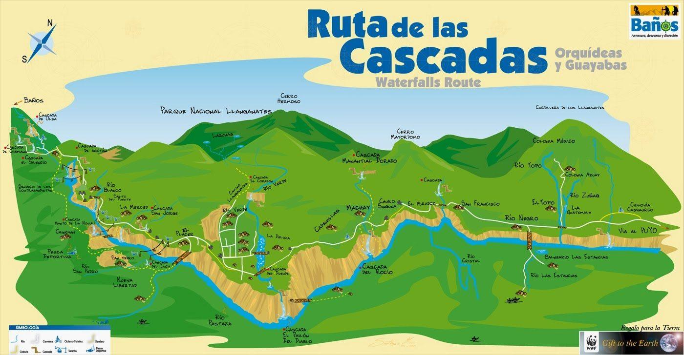 Map Ruta de las Cascadas Ciudad Banos Ecuador waterfall route