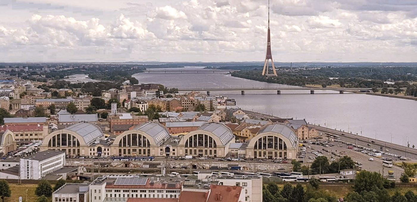 RIga from above with the Central Market