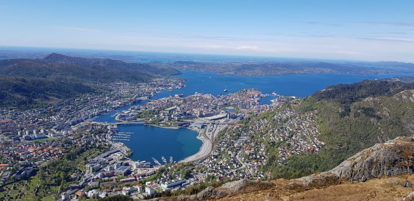 View over Bergen city from Vidden between Ulriken and Fløyen