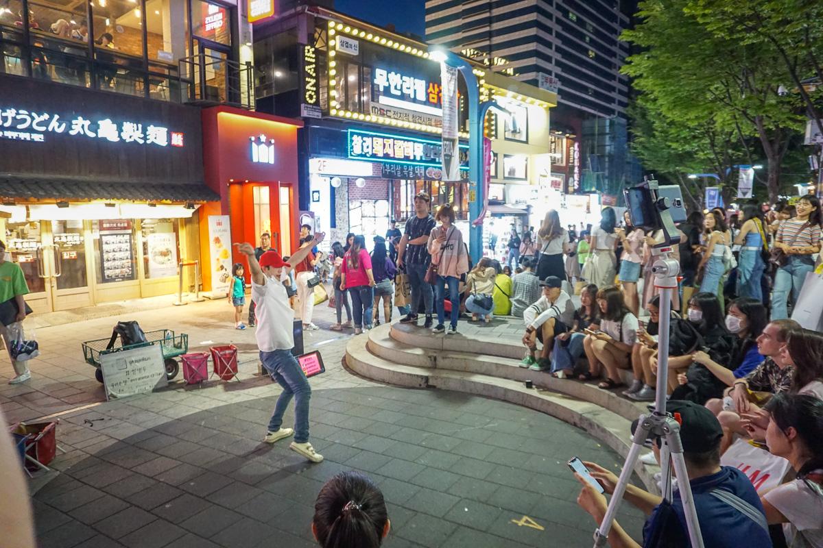 Busking in Hongdae Street preformers Seoul